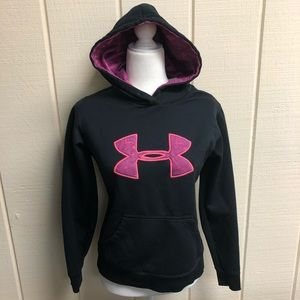 Under Armour Hoodie Black Pink Women's Small EUC